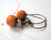 Orange Aventurine Pumpkin Earrings Crystal Antique Brass
