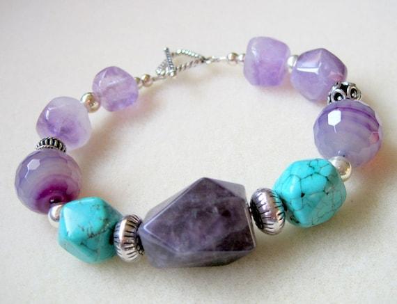 Chunky Amethyst Agate Turquoise Bracelet