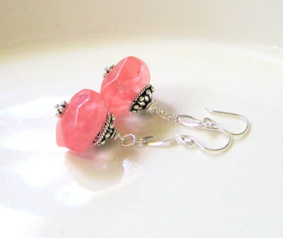 Cherry Quartz Earrings - Dangle Drop Earrings -  Sterling Silver - Semi Precious Stone Jewelry - Cherries Jubilee