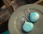 Smooth Blue Opal Earrings