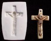 Skeleton SKULL Cross CRUCIFIX  -  polymer clay mold