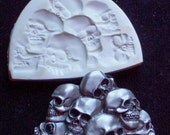 Pile of Skulls -  polymer clay art mold CNS