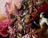 Pink Faeries - Fantasy Goddess Art 5x7 Greeting Card