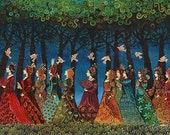 Twelve Women with Birds Mythological Goddess Art 11x14 Print Psychedelic Fairy Tale
