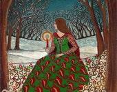 Solstice Queen - Winter Pagan Goddess 5x7 Greeting Card