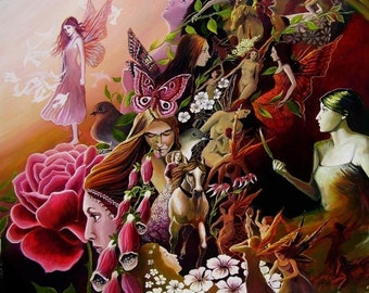 Pink Faeries 8x10 Fine Art Print Pagan Mythology Fantasy Fairy Nature Witch Goddess Art