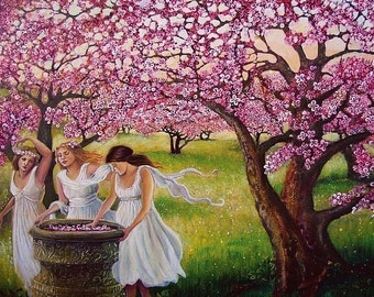 Spring Nymphs 5x7 Blank Greeting Card Pagan Mythology Fairy Cherry Orchard Goddess Art
