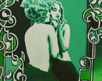 Vanity 11x14 Fine Art Print Art Nouveau Green Vintage Retro Pinup Goddess Art