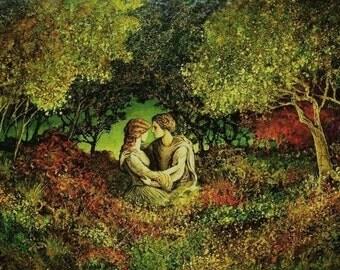 The Tryst 8x10 Fine Art Print Pagan Mythology Renaissance Medeival Lovers Forest Goddess Art