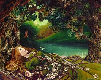 Awakening Pagan Spring Beltane Goddess Art 8x10 Giclée Canvas Print Mythology Psychedelic Bohemian Gypsy Goddess Art