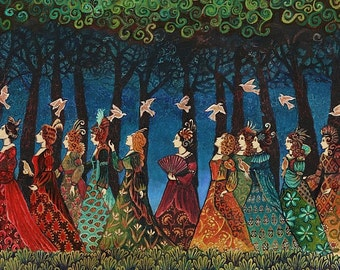 Twelve Women with Birds 5x7 Greeting Card Pagan Fairy Tale Mythology Psychedelic Bohemian Gypsy Goddess Art