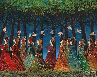 Twelve Women with Birds Goddess Art 11x14 Print Psychedelic Fairy Tale Pagan Mythology Psychedelic Bohemian Gypsy Goddess Art