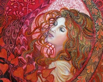 Aphrodite 8x10 Fine Art Print Pagan Mythology Art Nouveau Love Goddess Psychedelic Bohemian Gypsy Goddess Art