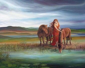 Epona 16x20 Poster Fine Art Print Celtic Pagan Mythology Horse Goddess Art