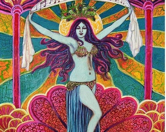 Saraswati Goddess of Music and Art 8x10 Art Fine Art Print Pagan Mythology Psychedelic Bohemian Gypsy Goddess Art