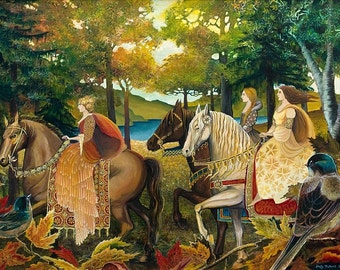 Autumn Riders Greeting 5x7 Card Fine Art Print Renaissance Medieval Surreal Fall Forest Equine Goddess Art