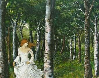 Diana 5x7 Greeting Card Fine Art Print Pagan Mythology Forest Goddess Art