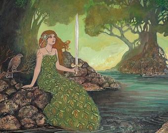 The Lady of the Lake 5x7 Greeting Card Pagan Mythology Renaissance Medieval Goddess Art