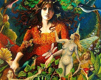 SALE The May Queen 8x10 Fine Art Print Pagan Mythology Bohemian Witch Celtic Fairy Goddess Art