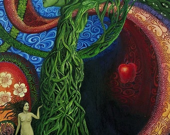 Eve 5x7 Blank Greeting Card Garden of Eden Surreal Mythology Bohemian Goddess Art