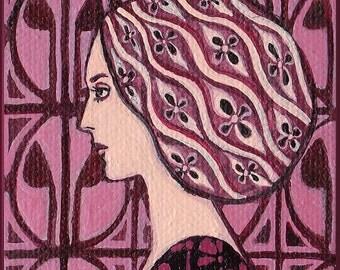 Rose Quartz Goddess - Art Deco 5x7 Blank Greeting Card