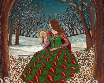 Solstice Queen 8x10 Fine Art Print Pagan Mythology Bohemian Yule Winter Solstice Goddess
