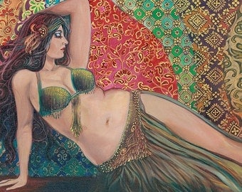 Raqs Sharqi Art 5x7 Greeting Card Fine Art Print Pagan Mythology Belly Dance Psychedelic Bohemian Gypsy Goddess Art