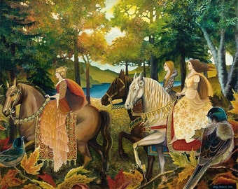 Autumn Riders 16x20 Poster Fine Art Print Renaissance Medieval Surreal Fall Forest Equine Goddess Art