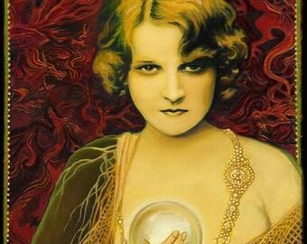Gypsy Queen 16x20 Poster Print Art Nouveau Mythology Gypsy Crystal Ball Psychic Goddess Art