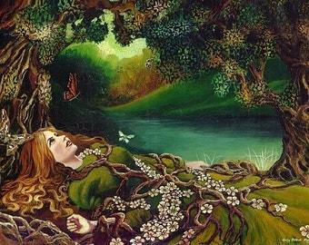 Awakening Pagan Spring Forest Goddess Art Mini Print ACEO Altar Art