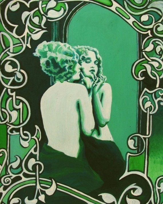 Vanity - 8x10 Art Nouveau Print of the March Pin Up Girl
