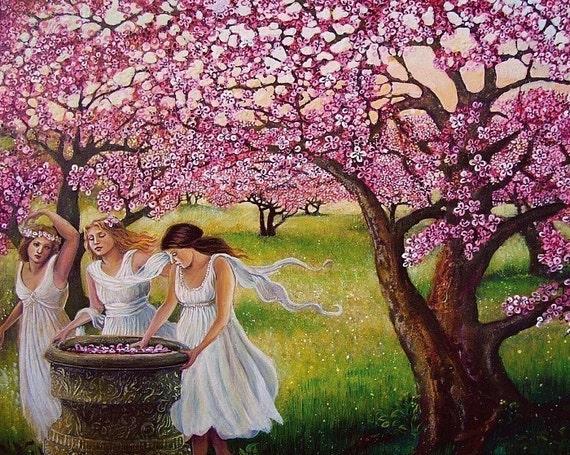 Spring Nymphs 5x7 Blank Greeting Card Pagan Mythology Fairy Cherry Orchard Goddess Art