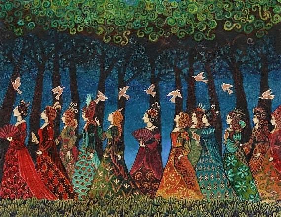 Twelve Women with Birds Goddess Art 11x14 Print Psychedelic Fairy Tale Pagan Mythology Psychedelic Bohemian Gypsy Goddess Art