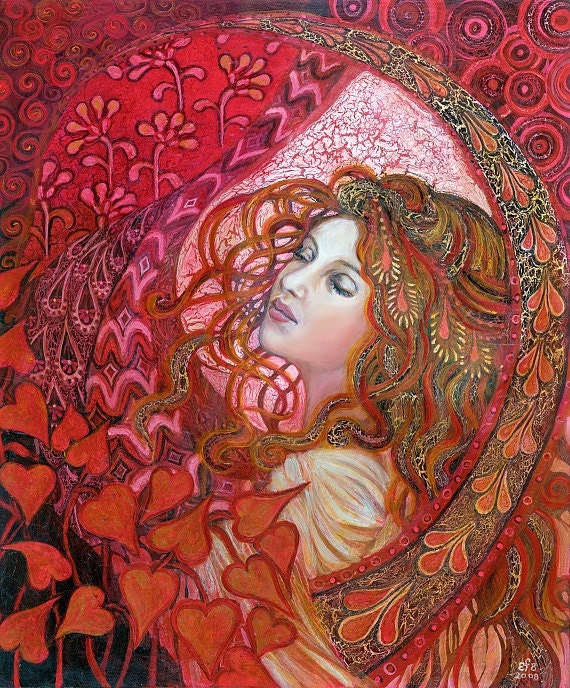 Aphrodite - Art Nouveau Love Goddess 11x14 Print Pagan Mythology Psychedelic Bohemian Gypsy Goddess Art