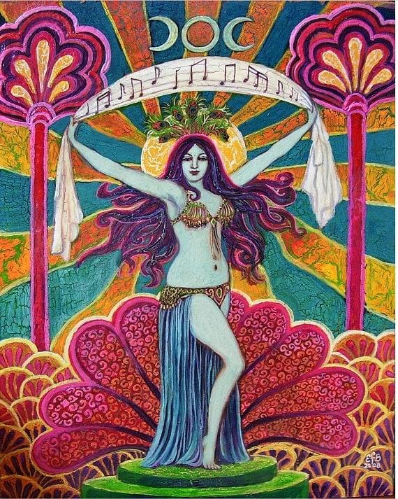 Saraswati Goddess of Music and Art Psychedelic 8x10 Art Print