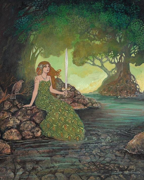 The Lady of the Lake - 8x10 Print Medieval Goddess Art