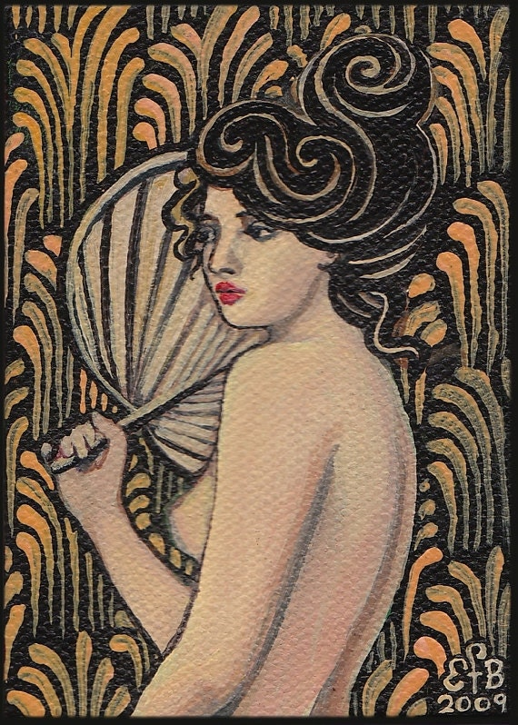 Onyx Goddess - Art Nouveau 5x7 Blank Greeting Card