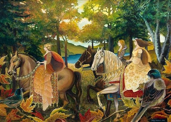 Autumn Riders Greeting 5x7 Card Fine Art Print Renaissance Medieval Surreal Fall Forest Equine Goddess Art