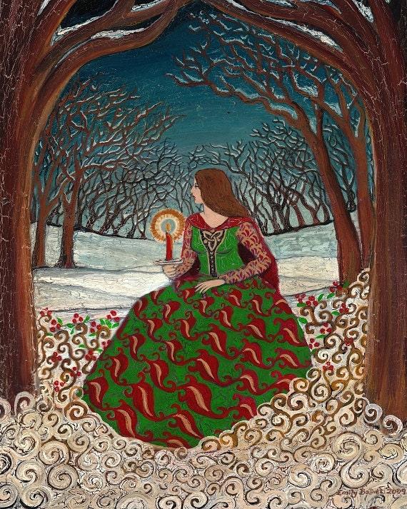 Solstice Queen - Winter Pagan Goddess 8x10 Print