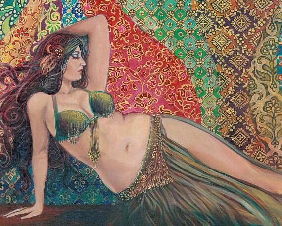 Raqs Sharqi 11x14 Fine Art Print Pagan Mythology Psychedelic Belly Dance Bohemian Gypsy Goddess Art