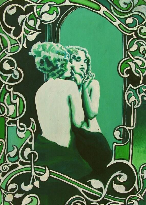 Vanity Art Nouveau Goddess Art ACEO Mini Print Altar Art Deco
