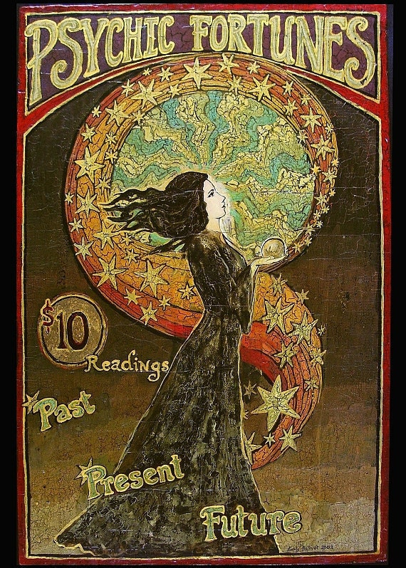 Psychic Fortunes Art Nouveau Gypsy Circus ACEO ATC By