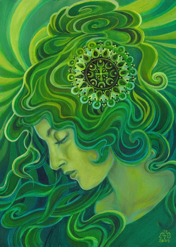 Green Goddess Gaia ACEO ATC Altar Art Fine Art Print Pagan Mythology Art Nouveau Emerald Psychedelic Gypsy Goddess Art