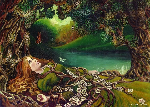 Awakening Pagan Spring Forest Goddess Art Mini Print ACEO Altar Art