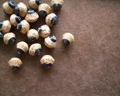 Palmwood Saucer Beads with Blackhorn Inlay 20pc