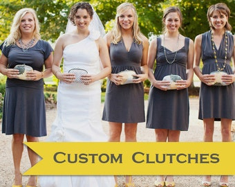 Design your own bridesmaid gift or bride's clutch handmade