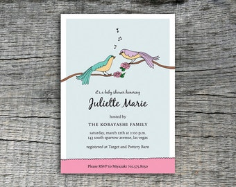 Love Birds Singing Invitation Party Design - DIY Printables