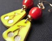 On Sale - Earrings - goldfill, vintage glass, cherry red, yellow, hand forged, retro - Atomic Cherry  (( last pair ))
