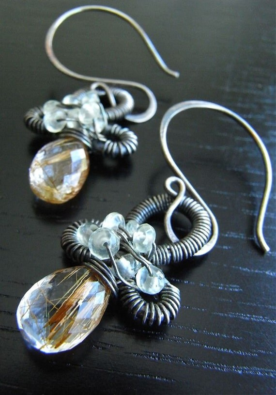 Ankh - copper rutile quartz, prehnite and sterling silver earrings