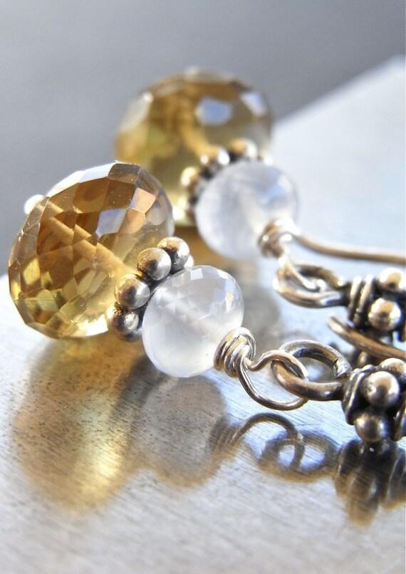 On Sale - Earrings - sterling silver, whiskey quartz, chalcedony, Bali silver - Rivulet